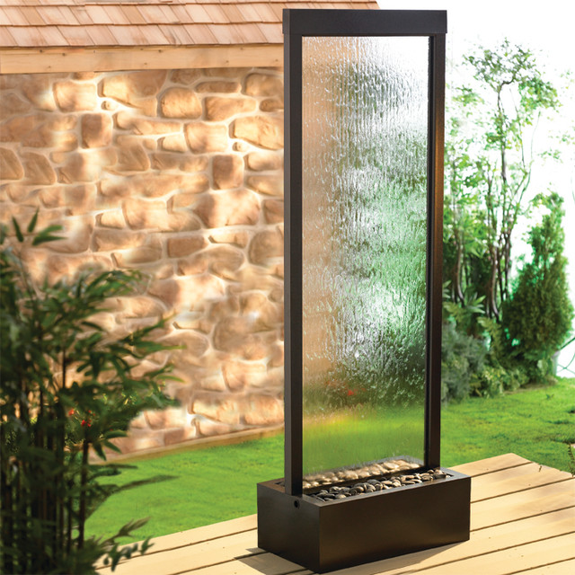 Bluworld 6u0027 Gardenfall Indoor Outdoor Water Fountain   Black Onyx U0026 Clear  Glass Modern
