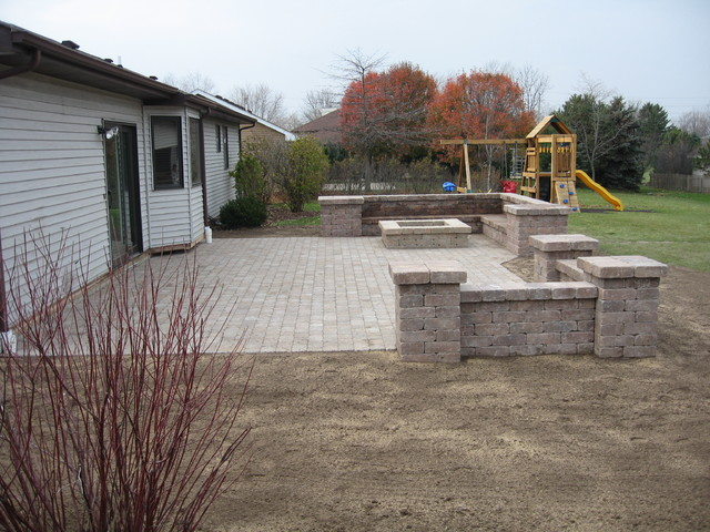 Bobs Grading paver patio and fire pit traditional patio