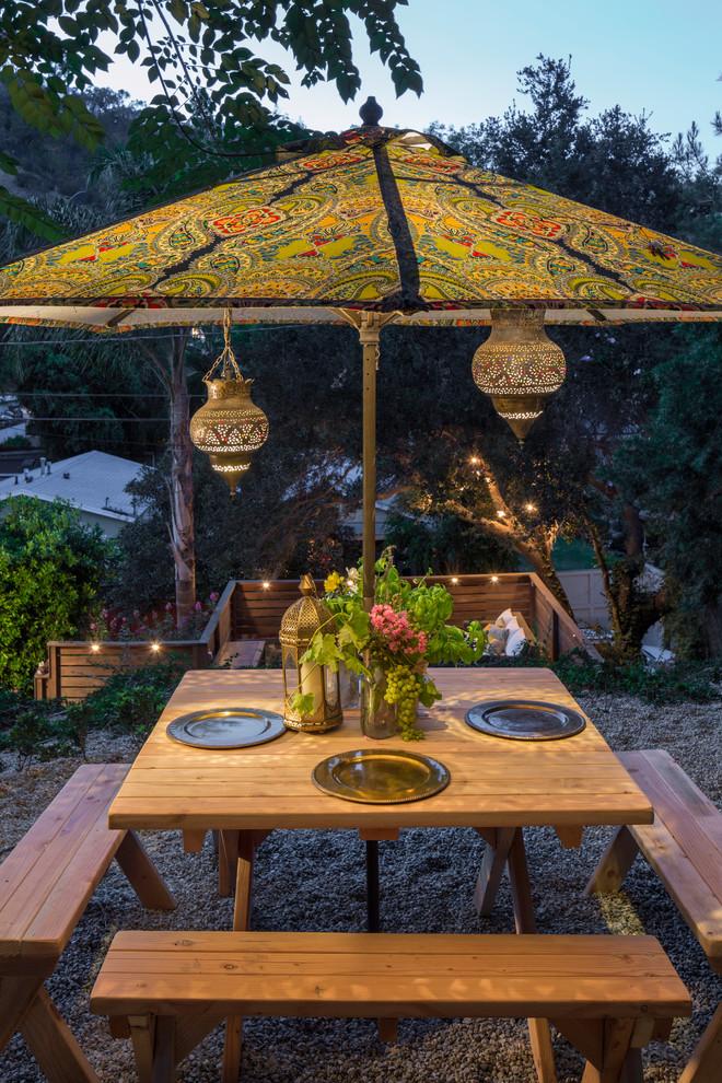 Patio - eclectic gravel patio idea in Los Angeles
