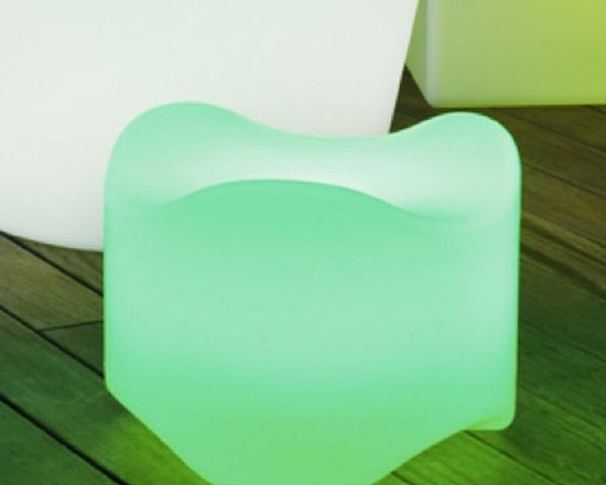 Bone Illuminated Stacking Chair - Bone illuminated outdoor chair is also rechargeable.