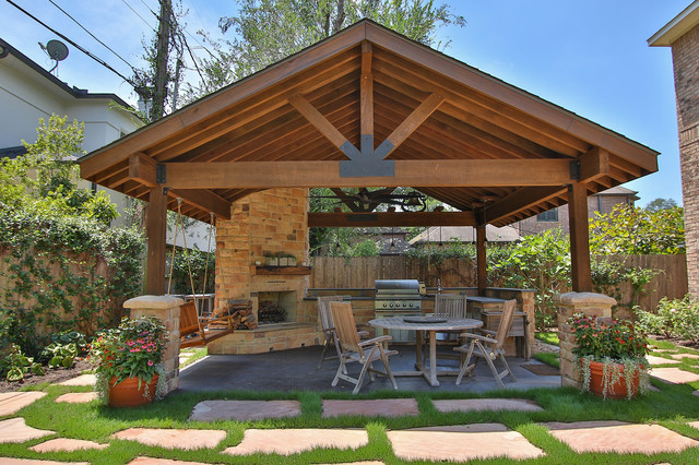 Braeswood Place Outdoor Covered Patio, Sunroom And Balcony Rustic Patio