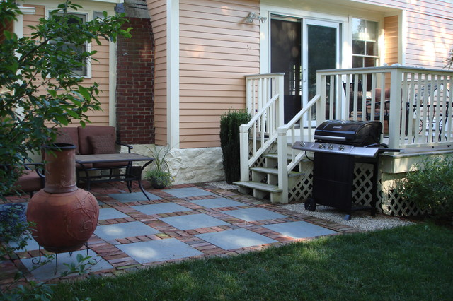 Brick and slate patio design contemporary patio boston by
