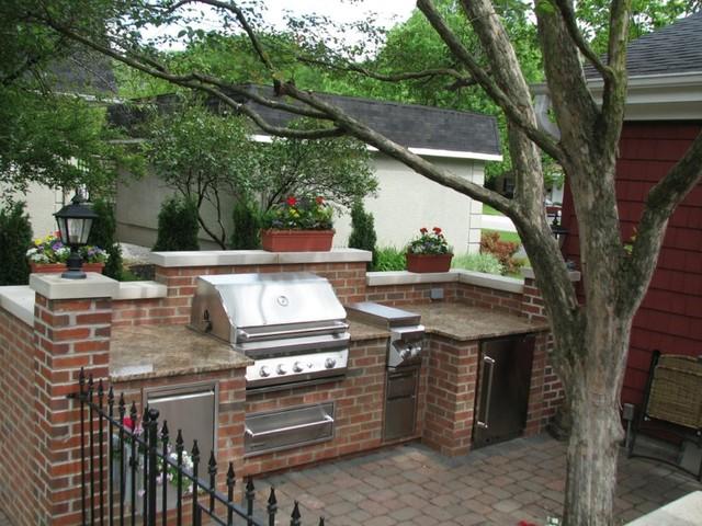 Brick, Granite & Limestone Outdoor Kitchen - Traditional - Patio ...