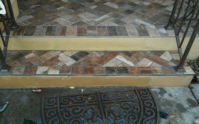 Brick Look Tiled Front Porch Lodi Ca Rustic Patio