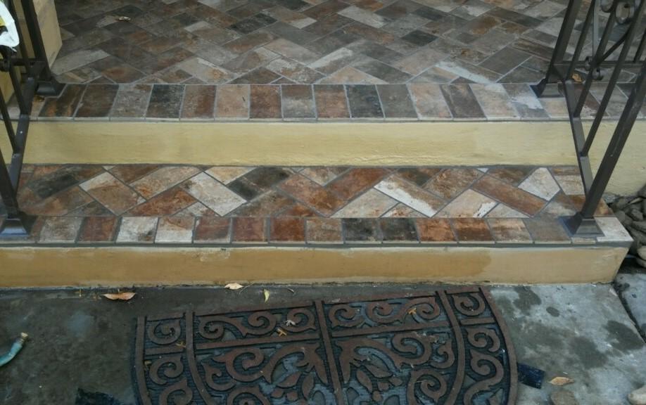 Brick-Look Tiled Front Porch- Lodi, CA