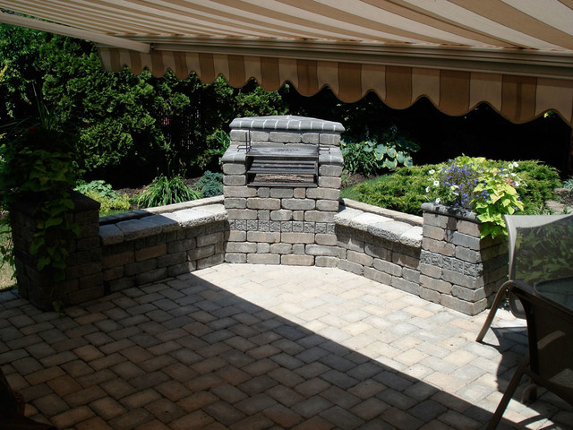 Brick masonry outdoor grill rustic patio new york by sjm tile