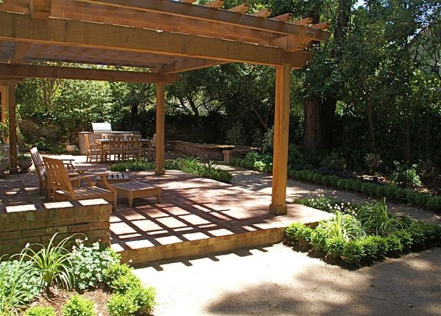 Brick patio wiht cedar arbor traditional-patio