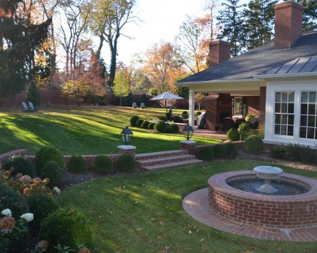 Brick Water Feature With Landscaping