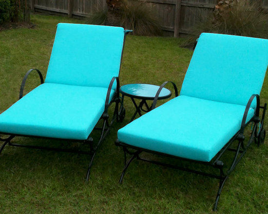 Chaise Lounge Cushions - Customer Photo | New chaise lounge cushions for the backyard made with Sunbrella Aruba fabric.