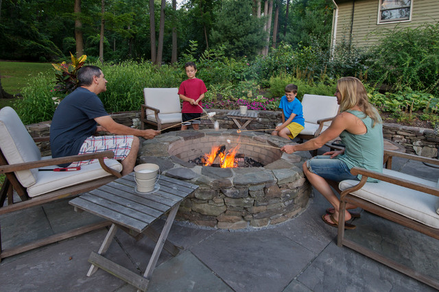 Britney Ou0026#39;Donnell Garden Design Outdoor Firepit - Rustic - Patio - Philadelphia - By Linda ...