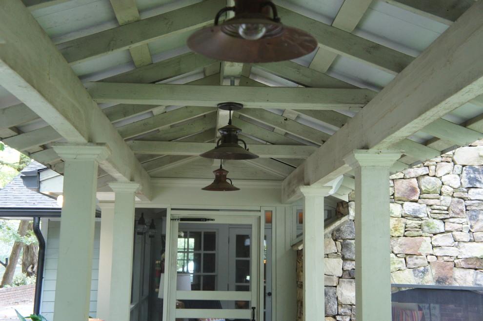 Example of a mid-sized mountain style backyard patio design in Atlanta