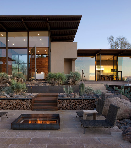 desert home, fireplace-Mission Stone Tile