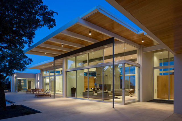 Porch with sliding glass doors modern exterior for Modern glass porch designs