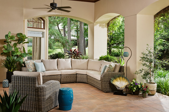 Example Of A Trendy Backyard Tile Patio Container Garden Design In Houston  With A Roof Extension. Email Save. Star Furniture