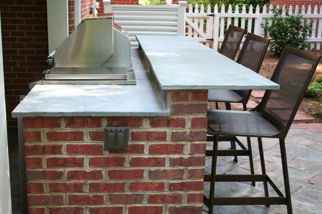 Great Buckhead Brick Outdoor Kitchen And Raised Bar Traditional Patio
