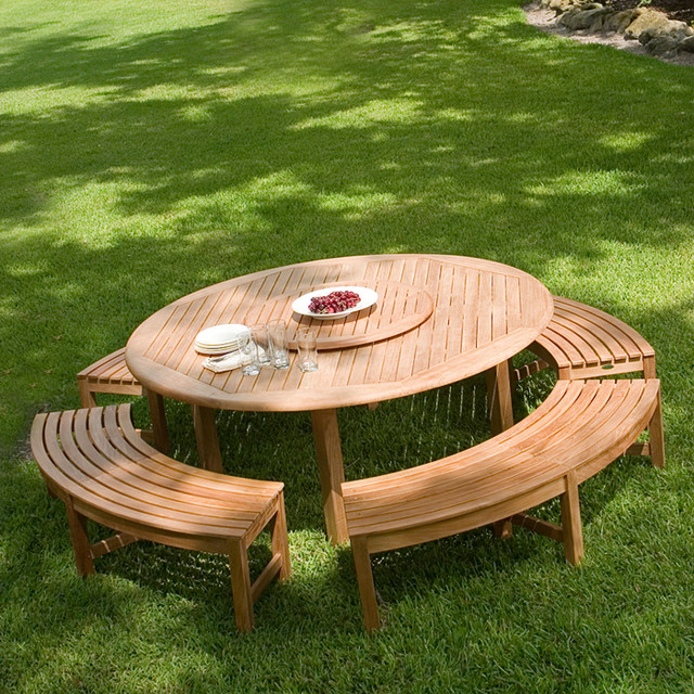 Buckingham Picnic Table Set Transitional Patio Los Angeles - Picnic table los angeles