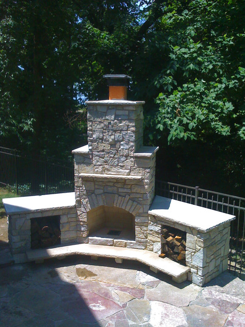 building outdoor stone fireplace