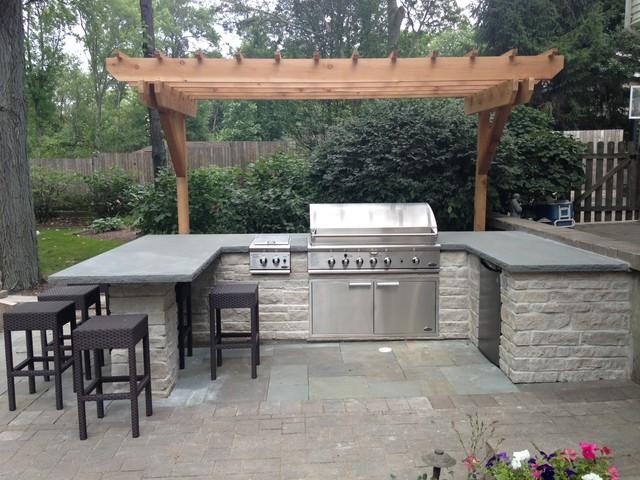 built in bbq grill surround contemporain terrasse et patio chicago par elan landscape. Black Bedroom Furniture Sets. Home Design Ideas