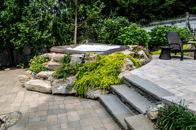 Bullfrog Spas Built Into Boulders And Landscaping