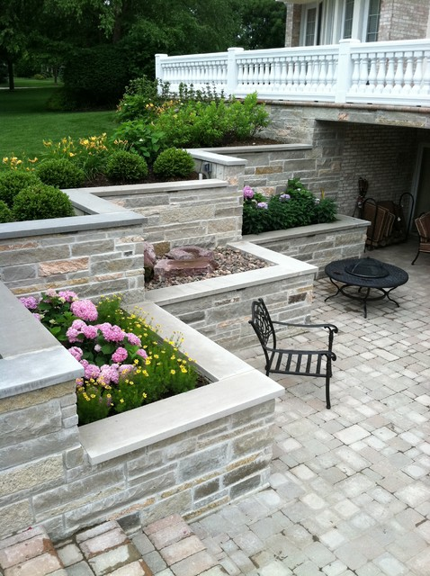 Burr ridge sunken patio and balcony traditional patio for Walkout basement backyard ideas