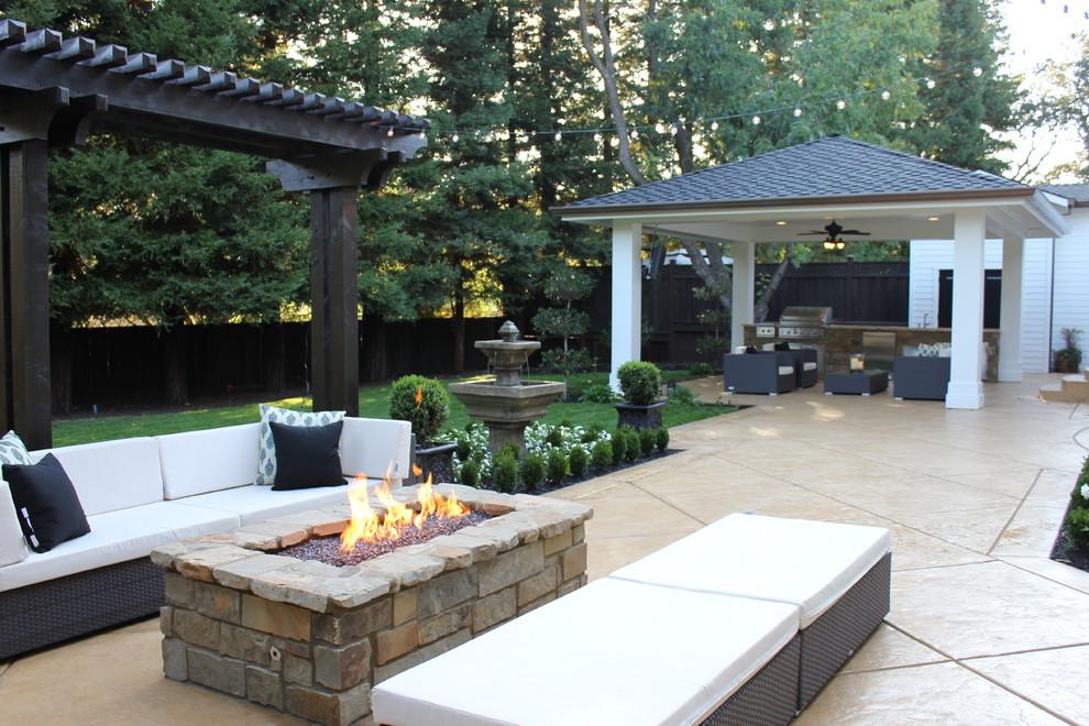 Elegant backyard patio photo in San Francisco with a gazebo
