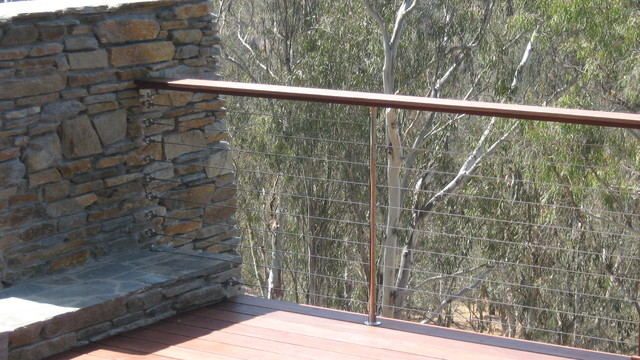 Cable Railing Masonry Anchors Eclectic Patio