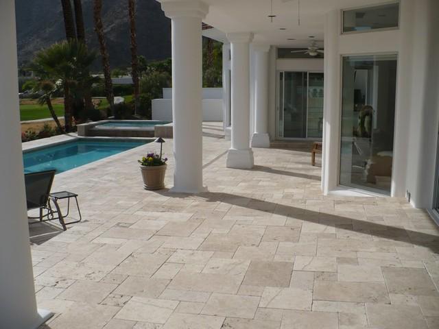 Cafe Light Versailles Pattern Landscape Paver Pool/Patio  Project mediterranean-patio