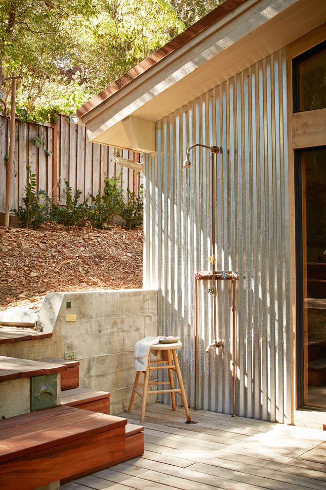 Mountain style outdoor patio shower photo in San Francisco with decking and no cover