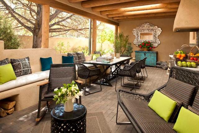Southwest Concrete Paver Porch Photo In Albuquerque With A Roof Extension Part 57