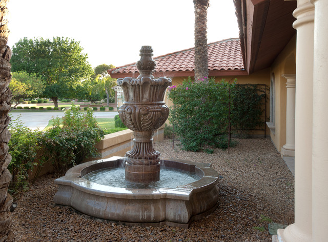 Cantera stone fountain traditional patio phoenix for Garden fountains phoenix