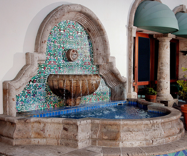 Cantera Stone Wall Fountain With Hand Painted Tile