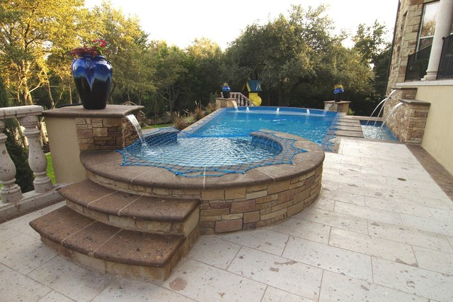 Cantera Tile Pool Decking Traditional Patio Austin