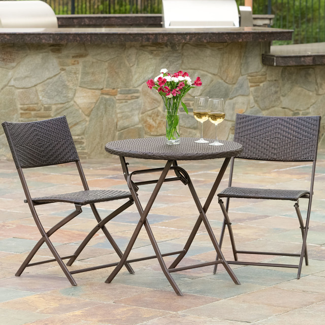 Cantinela 3pc outdoor wicker folding bistro set for Great deals on outdoor furniture