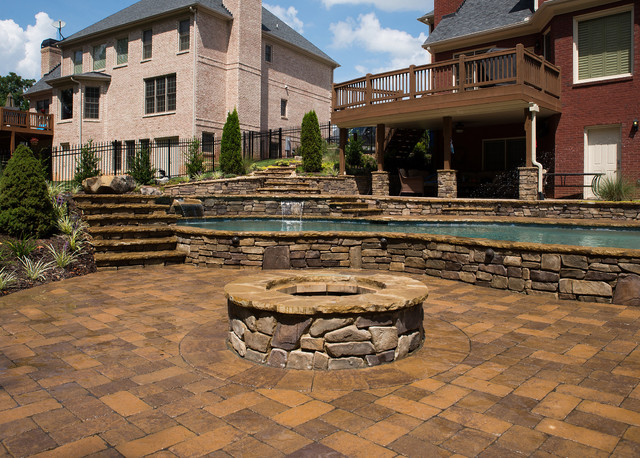 Canton ga custom freeform gunite traditional patio for Custom home builders canton ga