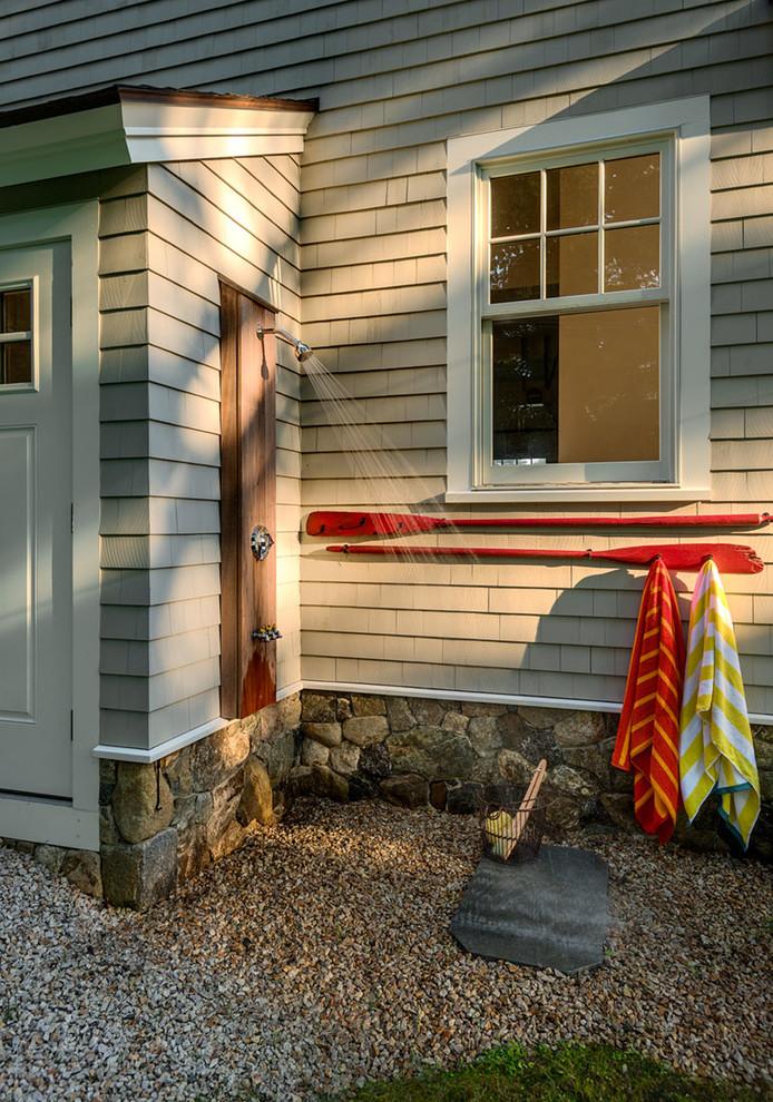 Outdoor patio shower - coastal gravel outdoor patio shower idea in Boston with no cover
