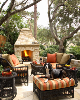Outdoor fireplace with patio furniture