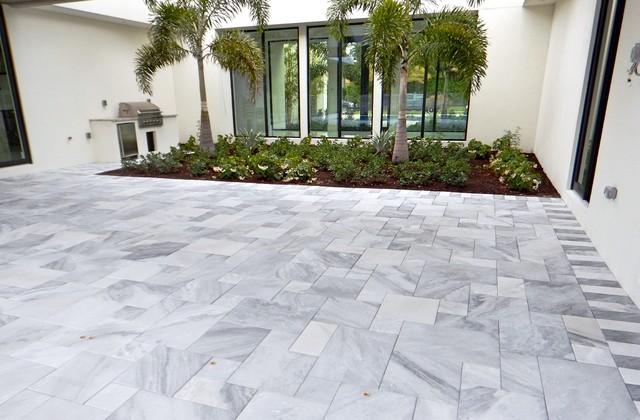 carrera white marble pool deck pavers - modern - patio - tampa