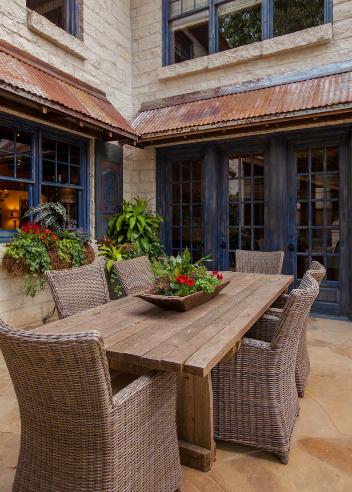Inspiration for a rustic patio remodel in Dallas