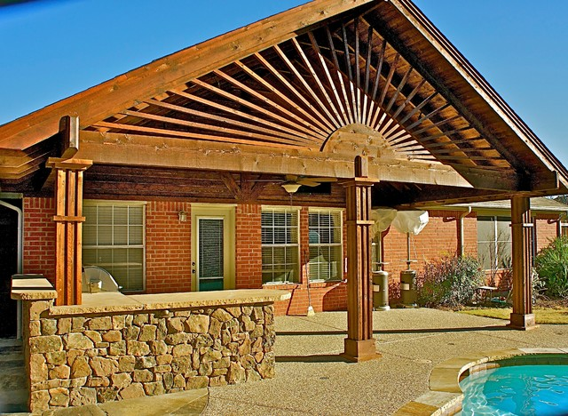 Cedar Patio Cover Traditional Patio Dallas By