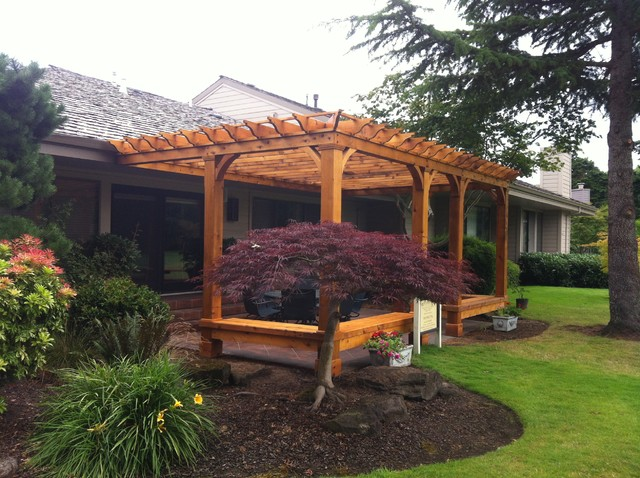 Cedar Pergola With Built In Bench Seating Traditional