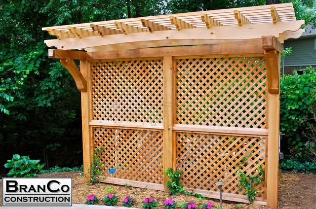 Cedar Privacy Screen With Arbor Craftsman Patio