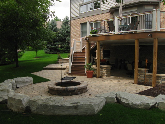 Walkout patio project craftsman patio other metro Walkout basement landscaping pictures