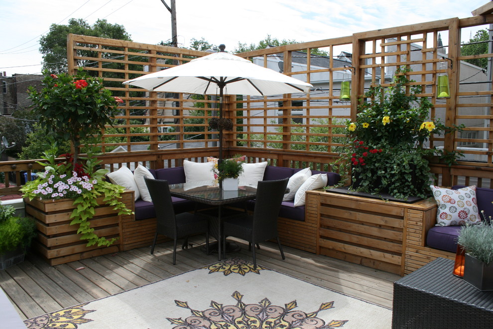 Elegant patio photo in Chicago with decking