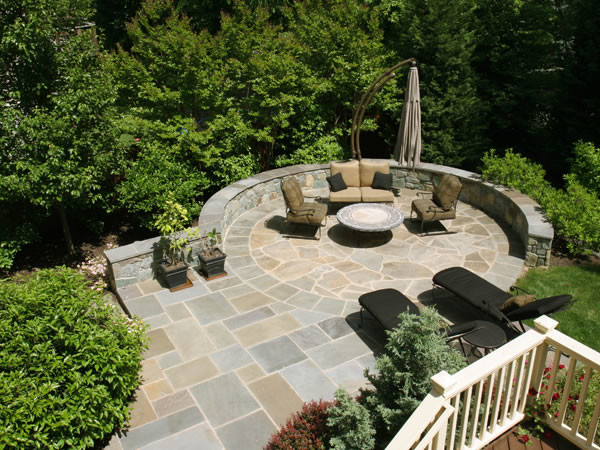 flagstone patio designs patio flagstone circular flagstone patio on steeply sloped backyard contemporary patio - Bluestone Patio Ideas
