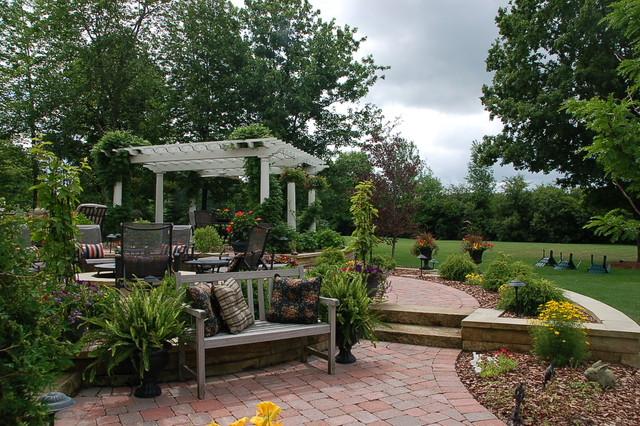 Circular Patio With A Pergola traditional-patio