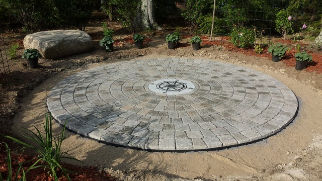 Amazing Circular Patio With Compass Rose Craftsman Patio