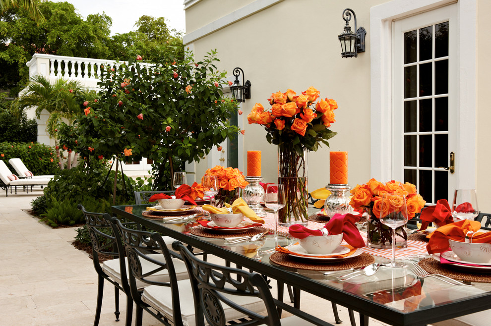 Inspiration for a timeless backyard patio remodel in Miami with no cover