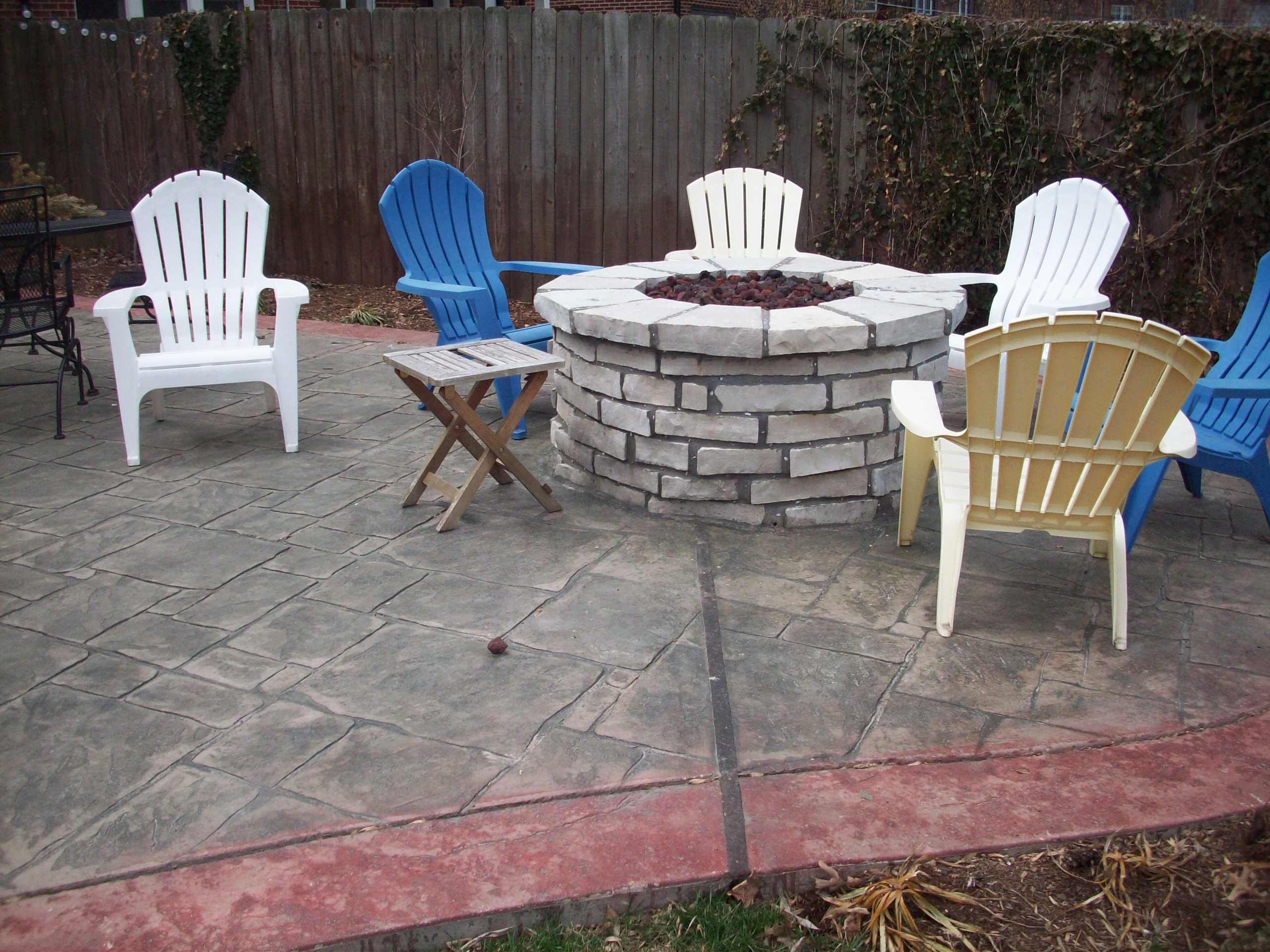 Clayton, Missouri multi-colored stamped concrete patio and fire pit