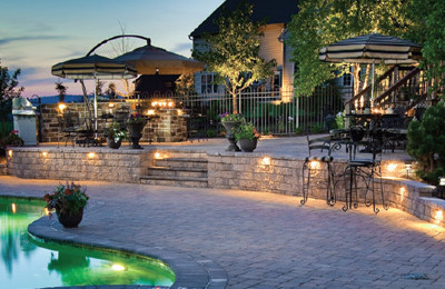 Clubhouse Pool Lighting traditional-patio