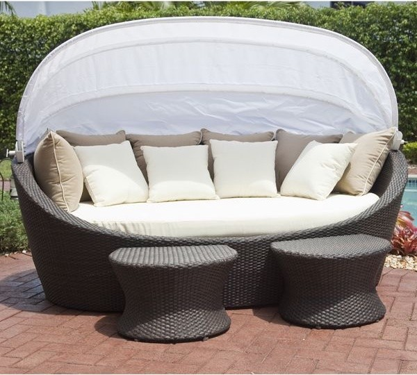 Coastal wicker outdoor daybed contemporary patio for Real wicker outdoor furniture